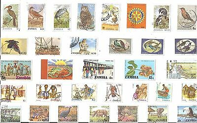 A Selection Of 33 Good/fine Used Stamps From Zambia