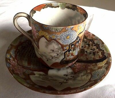 2 Pcs Antique HANDPAINTED Egg Shell Porcelain TEA CUP Geisha Gilt Japan Nippon