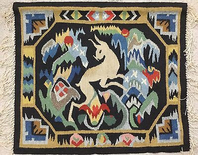 Colorful Antique Folk Art Norwegian Flemish Weaving Woven Tapestry Wall Hanging