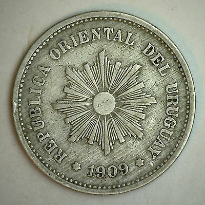1909 Uruguay 5 Centesimo Five Cent Coin YG