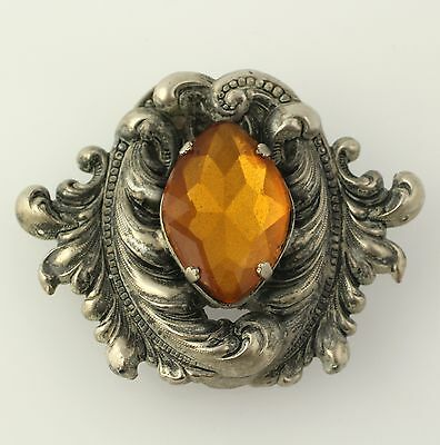 Chunky Vintage Brooch - Orange Rhinestone Chased Leaf Designs Estate Pin Women's