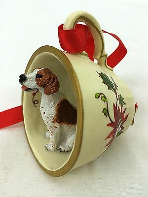 Pointer Brown/White Tea Cup Christmas Ornament Holiday Dog Figurine