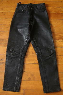 "Vintage High Waist Black Leather Motorcycle Biker Style Riding Pants -26"" Waist"
