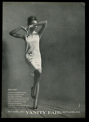1962 Vanity Fair lingerie woman in butterfly gown photo vintage print ad