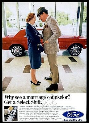 1967 Ford Mustang red car in showroom color photo vintage print ad