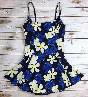 Vintage 90s Cole of California Daisy Floral Print One-Piece Skirted Swimsuit 10