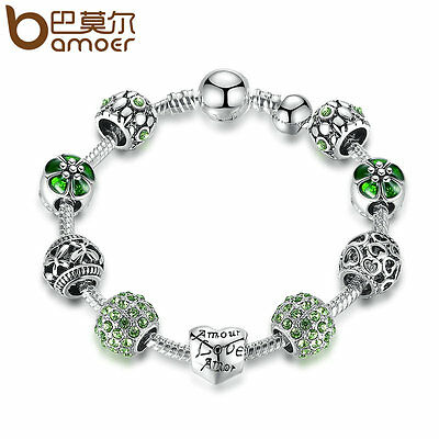 Bamoer Jewelry European Silver Charms Bracelet With Green CZ Bead LOVE for Women