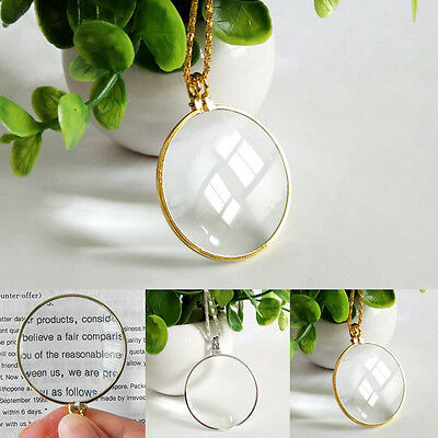 Magnifying Glass 6x Magnifier Pendant Loupe w/ Golden Chain Monocle Necklace