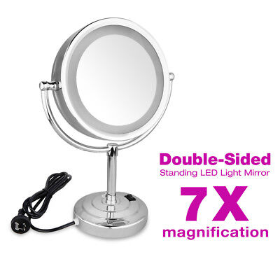 10X Magnifying LED Makeup Mirror Stand Bathroom Cosmetic Shaving Mirrors 2 Sides