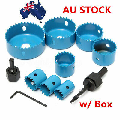 AU 11pcs HOLE SAW CUTTING SET KIT 19-64MM WOOD METAL ALLOYS w/ Box