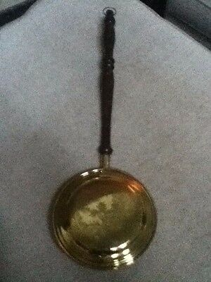 "1940s Webaware England 19-1/2"" Hanging Brass & Wood Bed Warmer w/ Willow Design"