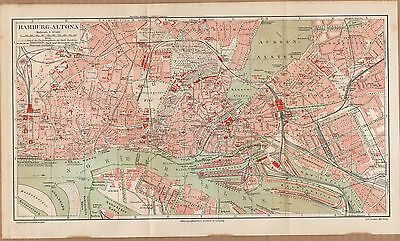 Landkarte city map 1908: Stadtplan HAMBURG-ALTONA, Maßstab 1 : 17.500