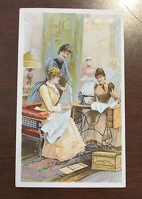1890s Advertising Card JH Beachley Domestic Sewing Machine Patterns Hagerstown