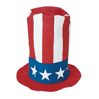 Uncle Sam Patriotic Red White and Blue America Stovepipe Felt Top Hat