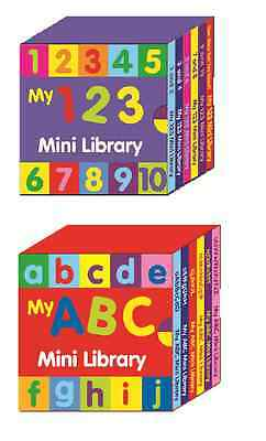 123 & ABC MINI LIBRARY LEARN NUMBERS & LETTERS  2 x SETS 6 BOOKS 2-4yo 2640/2639