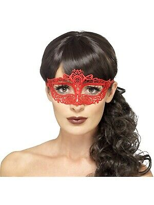 Embroidered Lace Filigree Red Eyemasks Masquerade Fancy Dress Accesssory