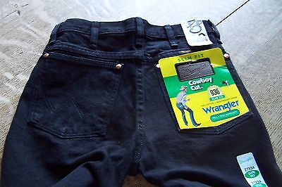 New $34+ Wrangler Slim Fit/cowboy Cut 936 Black Denim Jeans~936Wbk2734~27 X 34