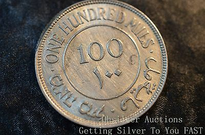 1939 100 Mils Palestinian Coin Circulated 11.7 Grams .720 Fine Silver