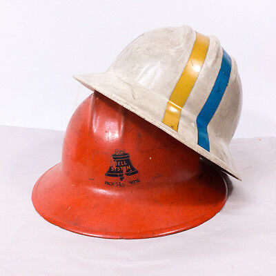 Pair of Vintage Bell Systems Hard Hat Safety Helments White & Orange