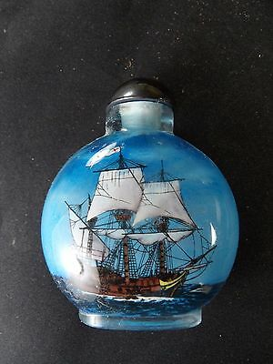 Mayflower Reverse Inside Painted Glass Snuff Bottle FREE Shipping in USA
