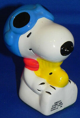 Vintage Snoopy Flying Ace w/Woodstock Ceramic Figure/Paperweight Peanuts 1980s