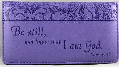 Checkbook Cover Purple Be Still And Know That I Am God Psalm 46:10 Brand NEW