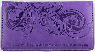 Checkbook Cover Purple I Can Do Everything Through Him Phil. 4:13 Brand NEW