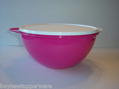 Tupperware Thatsa Bowl 32 Cups Mix Serve Store Pink Punch w/ White Seal New