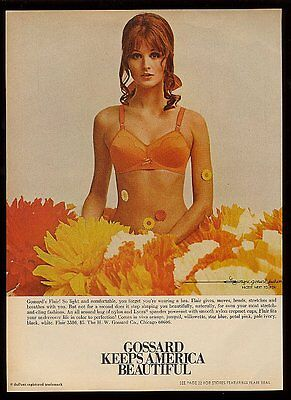 1968 pretty woman photo Gossard lingerie orange bra vintage fashion print ad