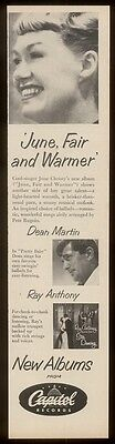 1957 June Christy Dean Martin photo Capitol Records vintage print ad