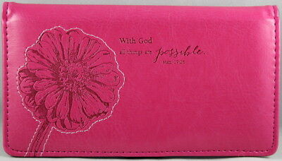 "Checkbook Cover Pink ""All Things Are Possible"" Matthew 19:26 Brand NEW"
