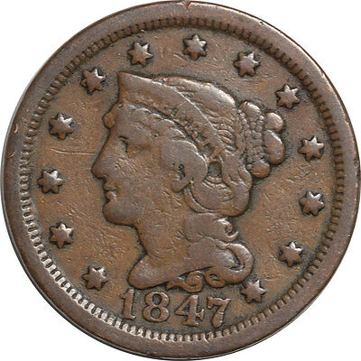 1847 Coronet Head Large One Cent, Pleasing Circulated Example!