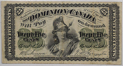 March 1, 1870 Dominion Of Canada 25 Cents Fractional Shinplaster Note, Nice F/vf