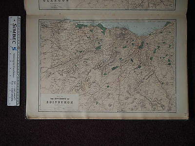 1883 MAP OF THE ENVIRONS OF EDINBURGH from BACON ATLAS OF BRITISH ISLES Scotland