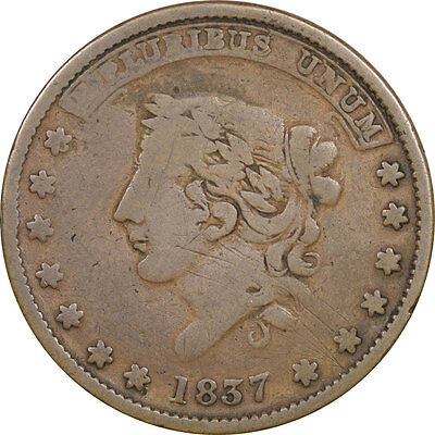 1837 Hard Times Token, Not One Cent, Millions For Defence, Low-34, Circulated
