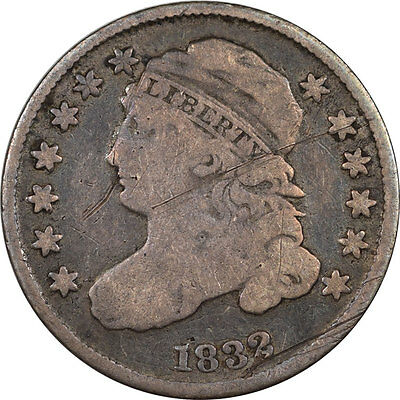1832 Capped Bust Dime, Decent Example W/minor Issues, Strong Details!