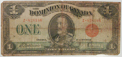 1923 Canada One Dollar Note - Dominion Of Canada, #33G, Heavily Circulated