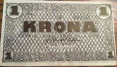 1941 Iceland - 1 Krona Note - World War Ii Issue, #22F, Very Fine, Tough