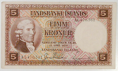 1928 Iceland - Landsbanki Islands 5 Kronur Note, #27B, Extremely Fine, Tough