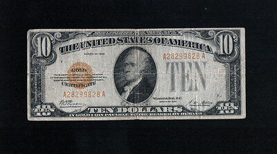 1928 $10 Gold Certificate US Rare Currency Ten Dollars
