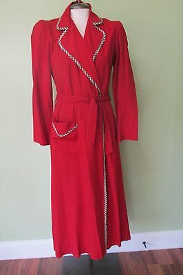 """Vintage 1930's Red Wool Robe W/ Black And White Gingham Trimming/  36"""" Bust"""