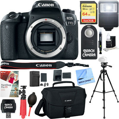 Canon EOS 77D 24.2 MP Digital SLR Camera (Body) Memory & Flash Kit