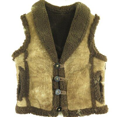Vintage 80s Sheepskin Shearling Vest Mens Small Brown Western