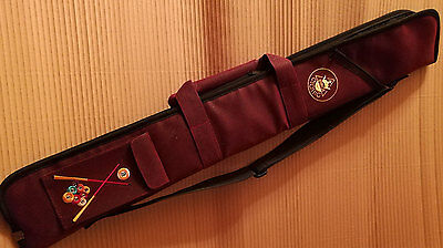 Deluxe Soft Cue Case Burgundy Snooker Pool Padded 2 + 1 Shoulder Strap