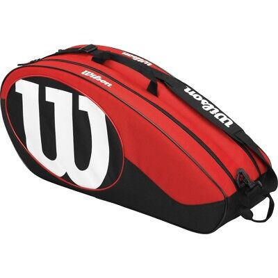 Wilson Match II Racquet Bag Black/Red (Holds up to 6 Racquets)