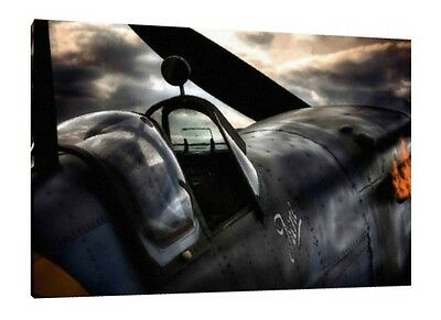 Spitfire 30x20 Inch Canvas - WW2 Framed Picture Poster Print Wall Art Painting