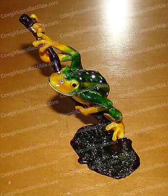 BeJeweled FROG in Tree Baked Enamel, Bejeweled Trinket Box (3455)