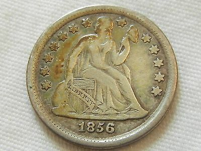 1856 seated liberty dime ten cent silver coin
