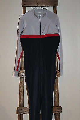 Men's~1 Piece~BASE LAYER~Black Gray~BIATHLON~Cross Country SKIING~Ski Suit~LARGE