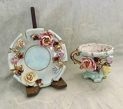 Vintage Blue Lusterware 3D Teacup And Saucer W/ Flowers